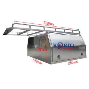 1780 x 1800 x 850 Aluminium Canopy Toolbox Dual Cab Ute ToolBox & 2.7m Roof Rack