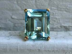 10Ct Emerald Cut Solitaire Aquamarine Vintage Engagement Ring 14k Yellow Gold FN