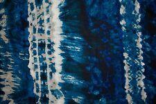 Blues Tie-Dye Print #1 100 Rayon Challis Sewing Shirt Apparel Fabric BTY