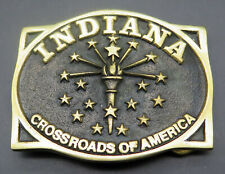 Indiana Crossroads of America Heritage Mint Brass Vintage Belt Buckle
