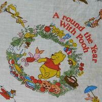 Winnie The Pooh Holiday Silk Scarf Handkerchief Vintage Piglet Tigger Square