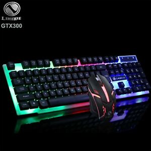 RGB Backlight Backlit Gaming Mechanical Keyboard and Optical Mouse Combo Set