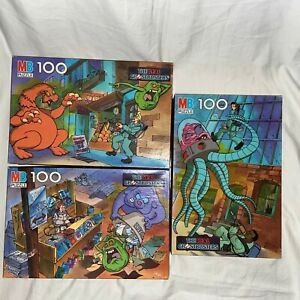 Vintage Milton Bradley The Real Ghostbusters 100 Piece Puzzles-Lot of 3