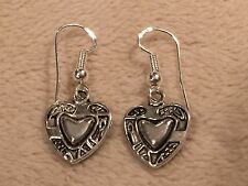 Artesian Sterling Silver Ear Wire/Hook Double-Sided Heart Charm Dangle Earrings