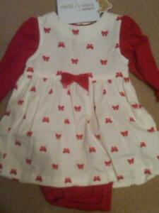 NWT GIRLS WHITE CORDUROY JUMPER WITH RED BOWS & MATCHING LS RED BODYSUIT 3-6 MOS