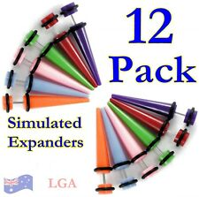 12  x Acrylic Expanders Mix FAKE expander tunnel earring plug ear FREE POST LG's