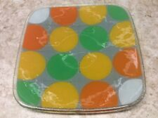 Peggy Karr Handcrafted Art Glass 11-inch Square Mid Century Dot Style Plate