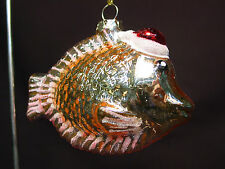 Vtg Blown Glass Tropical Fish Xmas Ornament Gold Pink Handmade Unique Figurine