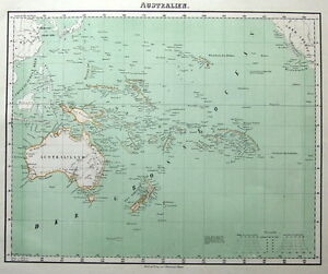 AUSTRALIA, NEW ZEALAND, PACIFIC Fleming original coloured antique map 1855