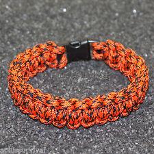 Neon Orange Camo - 550 lb Type III Paracord Survival Rope Bracelet Made in USA