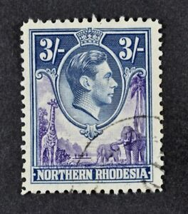 N. RHODESIA, KGVI, 1938, 3s. violet & blue value, SG 42, used condition, Cat £19