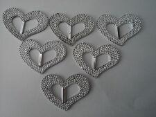 6 PCS LARGE LOVE HEART SILVER  BUCKLE SLIDERS/WEDDINGS/SCRAPBOOK/RIBBON/ECT