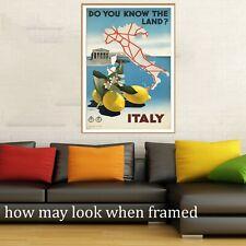 """Vintage art poster Italy Italian Lemons Map Travel painting for glass frame 36"""""""