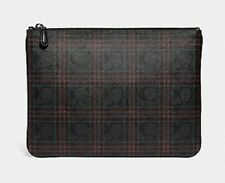 NWT COACH F86111 LARGE POUCH IN SIGNATURE CANVAS WITH SHIRTING PLAID PRINT