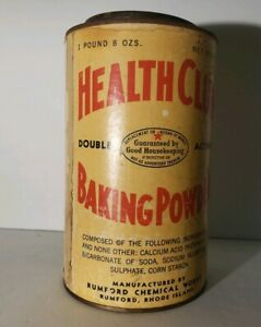 Vintage Health Club Baking Powder Tin Metal Can - Rustic Decor - Advertising
