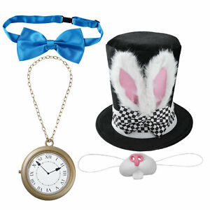 4 set Adult Rabbit Costume Bunny Top Hat Nose Blue Bowtie Clock Gloves Cosplay