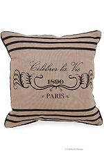 """18"""" Vintage Paris France Canvas Cotton Square Decorative Pillow Cushion Cover"""