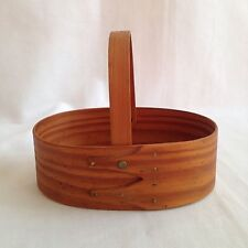 "Hand Made Shaker Oval Bentwood Basket 2 Finger with Handle 6"" Signed"