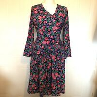 VTG 80's Shelly Michaels Drop Waist Dress Floral Retro Diana Evening Size 10/12