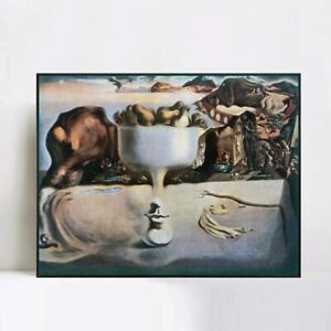 Framed Canvas Apparition of a Face and Fruit Dish on a Beach by Salvador Dali