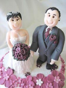 Personalised Wedding Cake Topper Bride and Groom clay keepsake