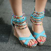 Womens Sandals Wedge Platform Heels Summer Bohemia Beach Shoes Open Toe Slipper