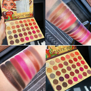 35 Colour Tribal Eyeshadow Palette Bright Metallic Glitter-Matte Makeup Mirror
