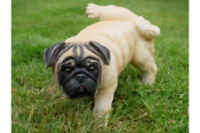 More details for realistic novelty peeing pug cocking leg ornament sculpture figurine decoration