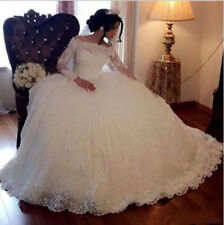 Shiny Beaded Princess Wedding Dresses Country Garden Lace Ball Gown Long Sleeve
