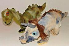 "Lot of 2 Plush Dinosaurs Brontosaurus, Triceratops Herbivores 14"" Fun Stuff Inc"