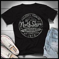 North Shore Long Board Surf Vintage Hawaii Beach Men T Shirt Cotton S-5XL Black
