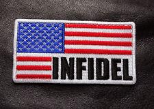Infidel Us American Flag R/W Tactical Combat Military Morale Hook Loop Patch