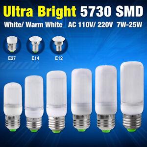 7/9/15/20/25W 5730 SMD LED Corn Bulb E27 E14 E12 Base Cool/Warm Milky White Lamp