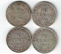 4 X NEWFOUNDLAND TEN CENTS DIMES STERLING SILVER COINS 1894 1912 1917C 1919C