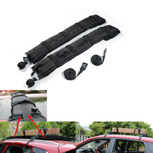 2x Universal Black Car Truck Roof Rack Cargo Carrier w/ Extension Luggage Rope