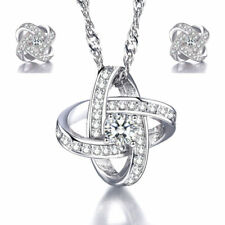 Parure in Argento 925 rodiato Swarovski Elements Originale orecchini con collana