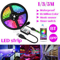 16FT Waterpoof 5050 LED Strip Lights RGB TV Music Backlight bluetooth APP Remote