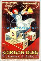 Cordon Bleu 1926 French Butter Advertisement Vintage Poster Print Kitchen Art