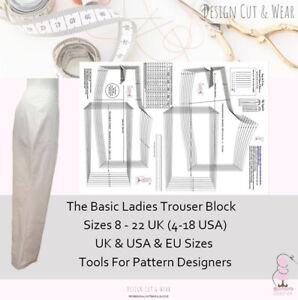 LADIES TROUSER BASIC BLOCK- SLOPER - Ideal For Pattern Cutters & Designers