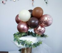 BALLOON CAKE TOPPER GARLAND ARCH BIRTHDAY DECOR BROWN ROSE GOLD CONFETTI CHROME