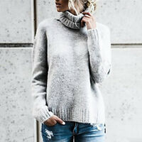 Women's Chunky Oversized Turtleneck Knit Sweater Fall Pullover