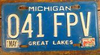1986 License Tag Michigan Great Lakes MI Metal License Plate