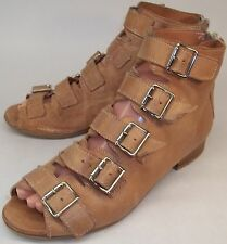 Mr & Mrs Yuo Wo's EU38 US7 Tan Leather Zip gladiator Peep Toe Ankle Boot Booties
