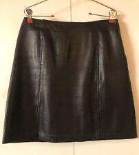 JACQUELINE FERRAR🌹Lamb Leather Skirt Sz 12🌹Zipper A-line 🌹Black Mini Skirt