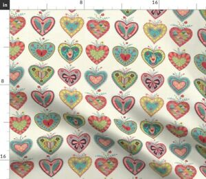 Valentines Folk Hearts Flowers Hand Drawn Pattern Spoonflower Fabric by the Yard