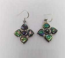Sterling Silver Pau/Abalone Shell Flower Design  Earring