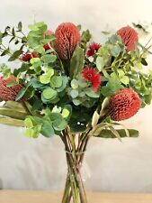 Artificial Flowers Sydney Fake Native Bouquet Banksia Eucalyptus Red