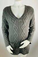 Soft Surroundings Medium Women's Sweater Cable Knit Wool Blend Tunic V Neck Gray