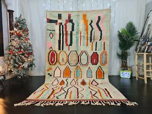 "Boujaad Handmade Moroccan Vintage Rug 5'3""x9'4"" Berber Turqoise Orange Wool Rug"