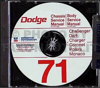 1971 Dodge Shop Manual CD 71 Super Bee Coronet Charger Repair Service RT 500 SE